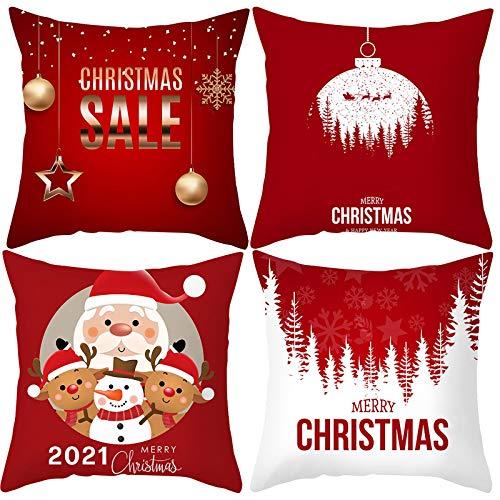 Rameng Set de 4 Fundas Navideñas para Cojines,Almohada de Lino,Fundas de Almohada Navidad,Algodón Lino Throw Pillow Case Funda de Almohada,Fundas Cojines de Navidad
