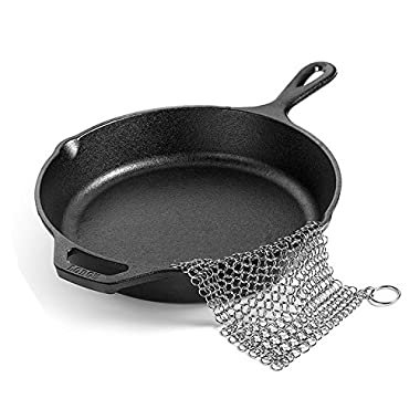 Stainless Steel Cast Iron Cleaner Ring 8 x6  BEoffer Premium Stainless Steel 316L Chainmail Scrubber Easy to Clean Cast Iron Skillet Cookware Griddle Wok and Dutch Oven Pre-Seasoned Pan Waffle Glass