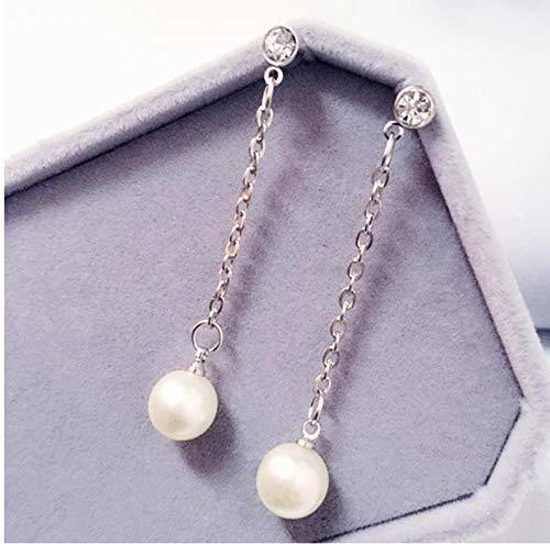 NOBRAND Pendientes de Borla de Diamantes de imitación de Perlas de imitación sección Larga de joyería de Pendiente de Temperamento Femenino