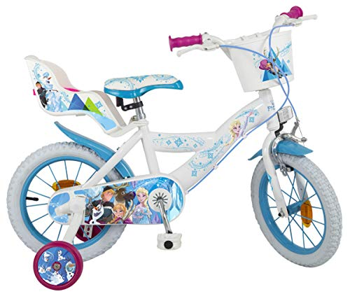 Disney Kinderfahrrad Frozen 14 Zoll Mädchen - Fahrrad mit Puppensitz, Korb, abnehmbaren Stützrädern