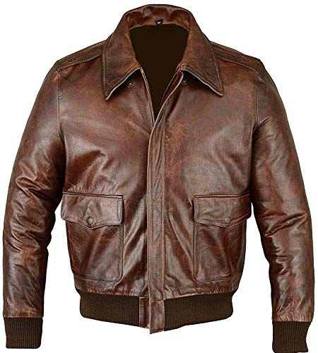 Top Gun Bomber Navy Flight A2 Leder Jacke - G1 Militär Pilot Flying Aviator Biker Lederjacke Faux Fux Gr. XXX-Large, Brown - A2 Distressed Bomber Jacket