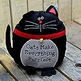 Türstopper aus Filz, Katze, Schwarz