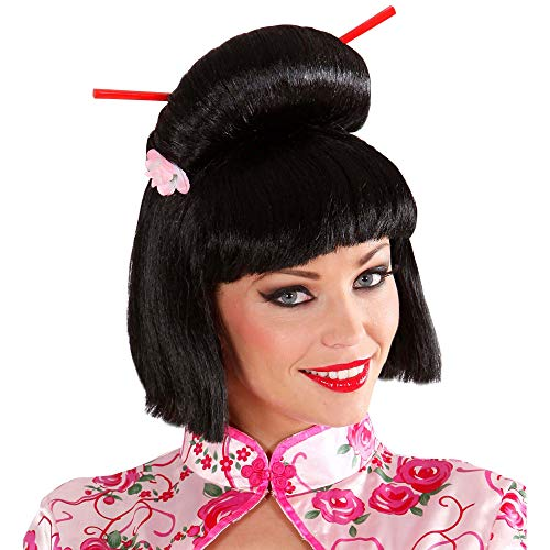 Widmann J0578 pruik Geisha, dames, zwart, eenheidsmaat