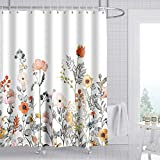 ZeplaAnn Floral Shower Curtain, Watercolor Flowers...