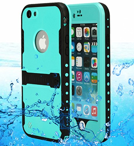 iPhone 6S Waterproof Case, AICase IP-68 Waterproof Shockproof Snowproof Dirtpoof Protection Case Cover Built-in Kick Stand & Hand Strap & Headphone Adapter for Apple iPhone 6 6S (Mint)