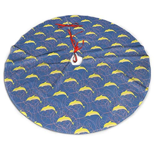 AIMASTZ Cartoon Dolphins 48 Inch Christmas Tree Skirt, Personalized Holiday Xmas Decorations