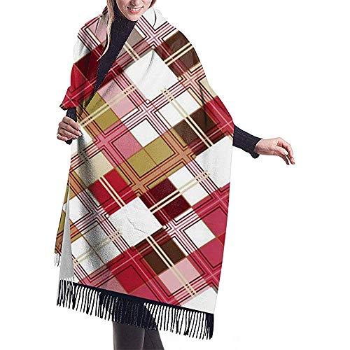 Cathycathy Grote sjaal tartanpatroon geblokte kleurrijke sjaal-wikkel-winter-warme sjaal-pet