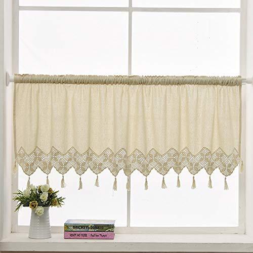 ZHH Handmade Cotton Linen Kitchen Curtain Crochet Lace Tassel Curtain Window Valance Cafe Curtain, 59 x 17 Inch Beige