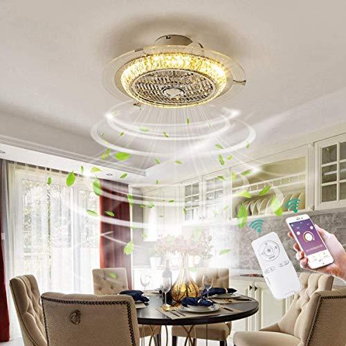Ventilador De Techo Con Iluminación Lamparas De Colgante De Techo LED Con Control Remoto Regulable Velocidad Del Viento Ajustable Sala De Estar Dormitorio Sala Oficina Fan Lámpara De Techo (Crystal)