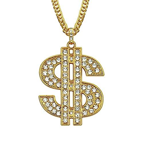 Collar Hombre Personalizado,Colgante de dólar con collar de circón Hombres Hiphop Rock Street Culture Aleación de zinc Collar de cadena de circón con incrustaciones Joyería de moda