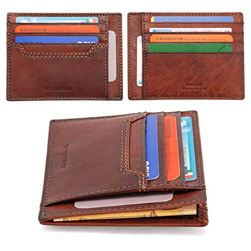 neropantera - Porta Carte di Credito e Banconote Tascabile dal design Slim Sottile in vera Pelle, RFID con Portatessere - Fano