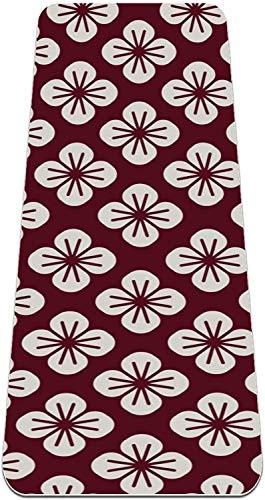 XIANWEI Motivo Floral Japonés Flores de Cerezo Flower Yoga Mat Grueso Grueso sin Resbalón Estates de Yoga para Las Mujeres; Mats de Ejercicio de Niñas Alfombras Suaves Pilates, (72X24 En, 1/4-Pulgada