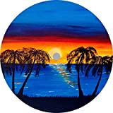 TIRE COVER CENTRAL Beach Sunset Palm Trees Spare Tire Cover (Select tire Size/Back up Camera in MENU) Custom Sized to Any Make/Model (245/75r17 Centered Back up Camera)