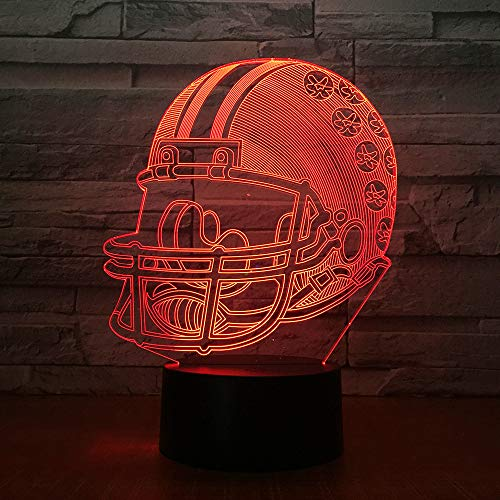 American Football Helmet Sports Caps Team Logo Multi Lava Best Fans 3D LED Night Light Table Lamp Bedside Decoration Kids Gift
