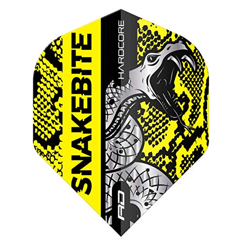 RED DRAGON Snakebite Hardcore Coiled Snakeskin Yellow Dart Flights - 3 Sets Per Pack (9 Dart Flights in total)