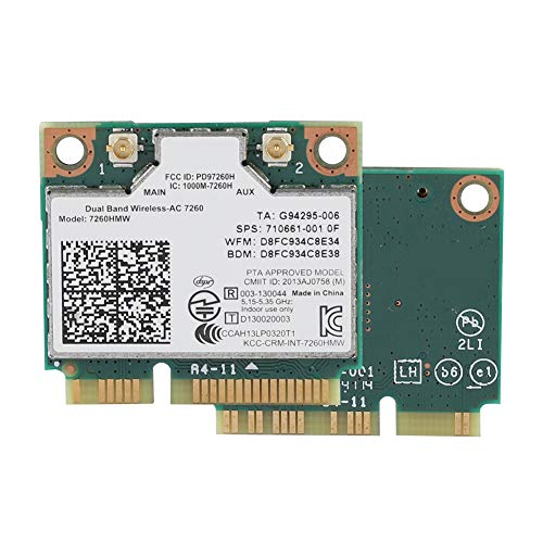 Tonysa Intel 7260AC Carte Réseau Pci Express Wi-FI, Mini-PCI-E Carte WiFi, avec Bluetooth 4.0, Demi-Mini Interface PCI-E pour Ordinateurs Portables Dell/Toshiba/Acer/Sony/Samsung/ASUS