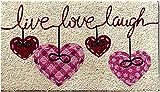 Zerbino da Esterno in Cocco con Base in PVC Dipinto a Mano Raffigurante Live Love Laugh 70X40X2 cm. Facile da Pulire e Ultraresistente