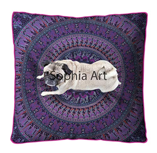 Sophia Art Indian Mandala Floor Pillow Square Ottoman Pouf Daybed Oversized Cushion Cover Cotton Seating Ottoman Poufs Dog/Pets Bed (Purple)