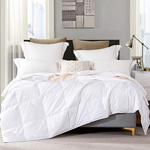Lightweight Goose Down Comforter King 100% Organic Cotton Hypoallergenic Duvet Insert 1200 Thread Count White Comforter 106x90Inches