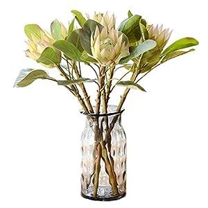Calcifer 6 Pcs The King Protea (Protea Cynaroides) Artificial Flowers Plants for Home Garden Wedding Party Decoration (Light Purple)