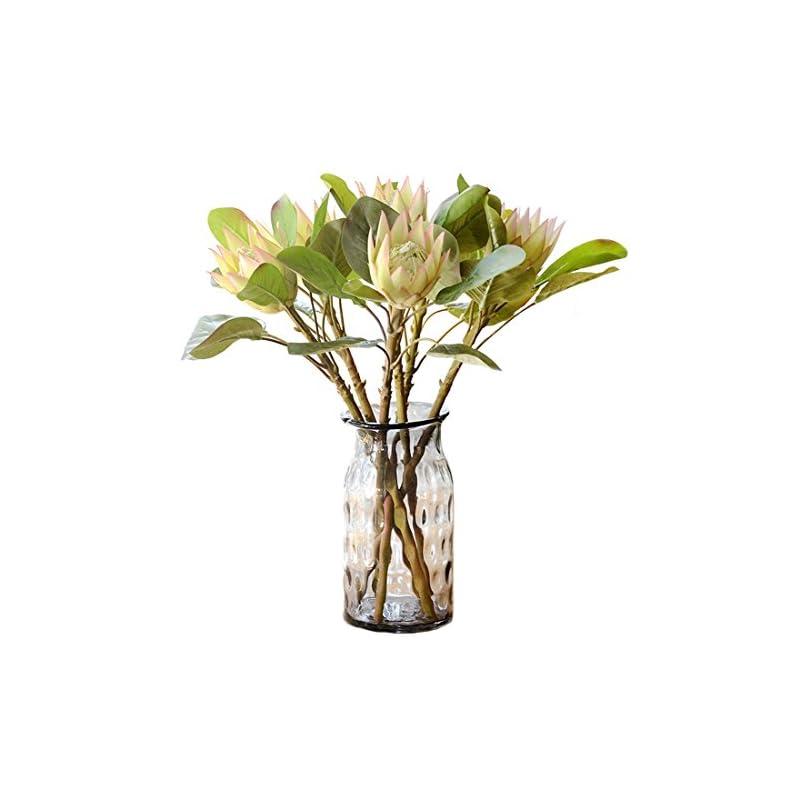 silk flower arrangements calcifer 6 pcs the king protea (protea cynaroides) artificial flowers plants for home garden wedding party decoration (light purple)