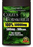 コレウスフォルスコリ 100% 1粒500mg 100カプセル 100日分 3ヶ月+10日 1袋あたり コレウス フォルスコリ50000mg フォースコリー ダイエット サプリ