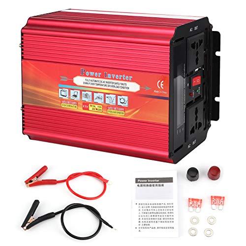 Inversor de corriente LCD 5000W Alta potencia 2 enchufes universales Ventilador de refrigeración dual Convertidor WLD-T DC 12V a AC para coche Exterior Hogar(220V)