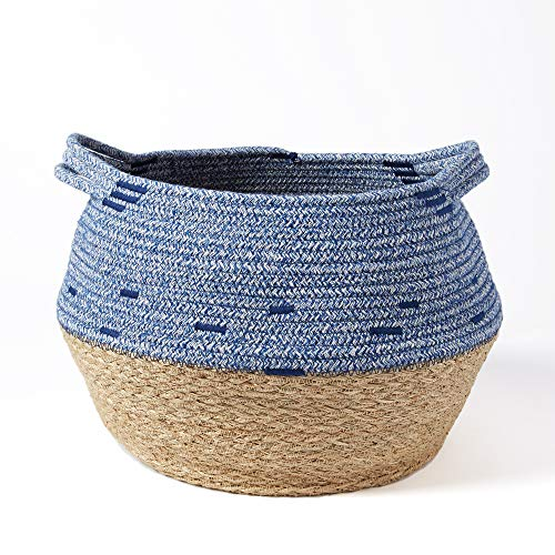 Modicum | Natural Seagrass and Cotton Rope Basket - Home Décor Accent, Belly Basket, Plant Pot Cover, Nursery Hamper, Housewarming Gift, Modern Woven, Creative Storage