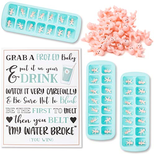 Juvale My Water Broke Baby Shower Game - 60 1 Inch Tiny Plastic Babies, 3 Ice Cube Trays, 1 Sign