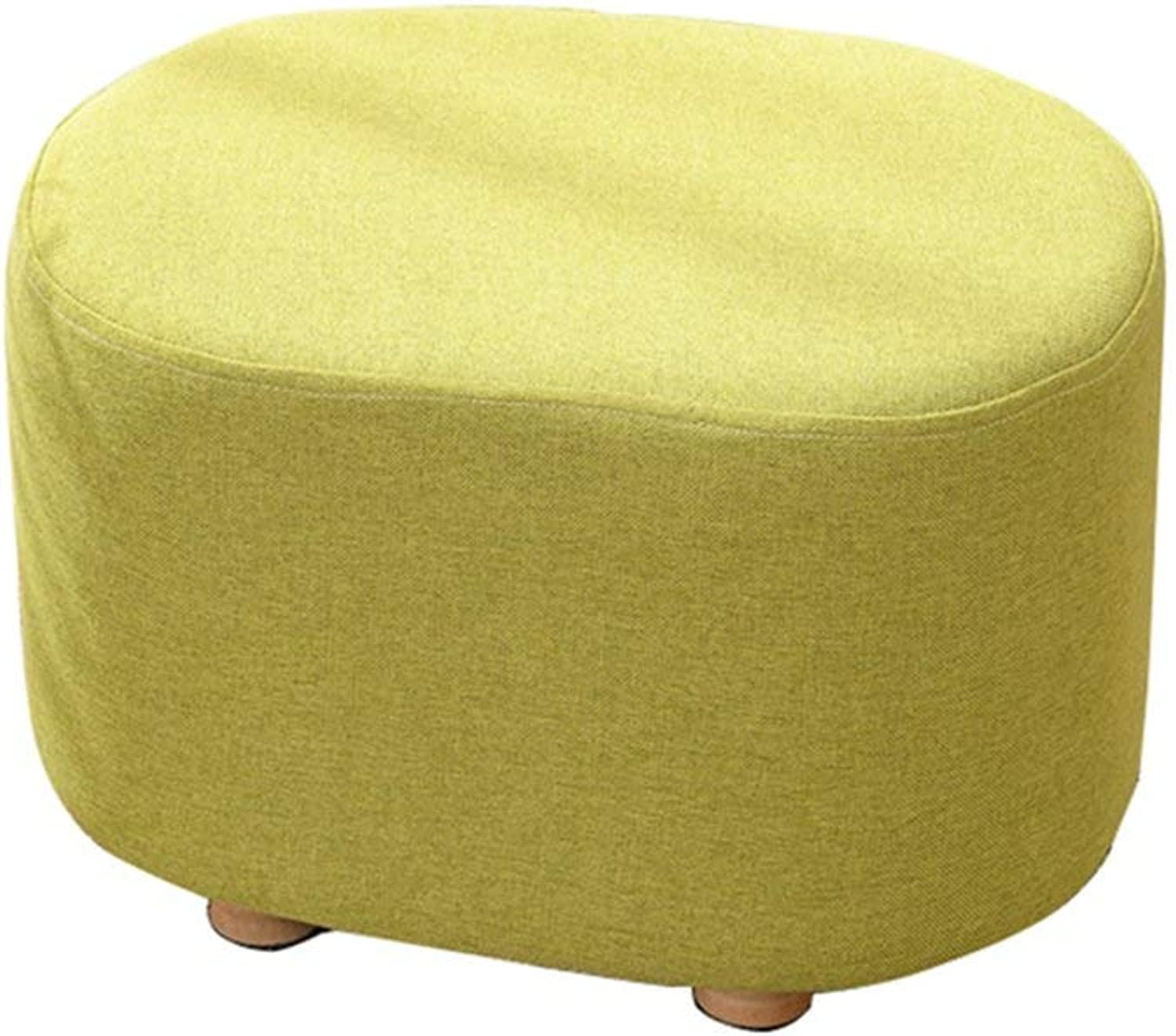 Dengzi Low Stool Bench Change shoes Bench Sofa Stool Ankle Easy to Clean Fabric Solid Wood Home Living Room European Creative Oval Short Dwarf Small Stool (color   Yellow)