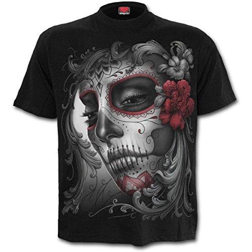 Spiral Direct Damen Skull Roses-Front Print T-Shirt, Schwarz (Black 001), 42 (Herstellergröße: Large)