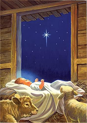 Toland Home Garden Baby Jesus 12.5 x 18 Inch Decorative Christmas Nativity Jesus Birth Stable Garden Flag - 111243