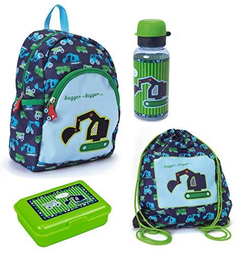 Spiegelburg Kindergarten Rucksack Set 4tlg. mit Turnbeutel, Brotdose und Trinkflasche Bagger