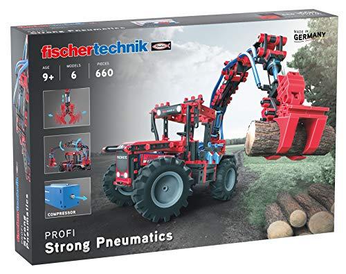 fischertechnik Experimentierbaukasten Strong Pneumatics - das Pneumatik Spielzeug mit Traktor, Baumstammgreifer, Frontlader und zweifachem Kreiselschwader - für Kinder ab 9 Jahren
