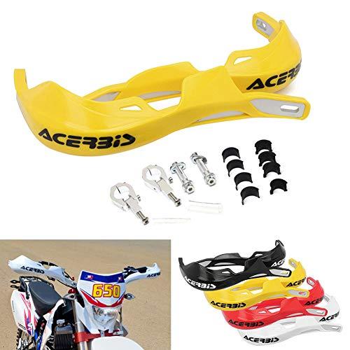 Coppia di protezioni per manubri da 22 mm e 28 mm, in lega di alluminio, per moto da fuoristrada, ATV, moto da cross, giallo