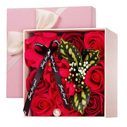 CNNIK Caja de Regalo de For de Jabón Rosa Artificial, Regalo de Decoración de Flor Corporal con Aroma a Pétalos de Rosa para Bodas, día de la Madre, día de San Valentín, día del Maestro (Rojo)