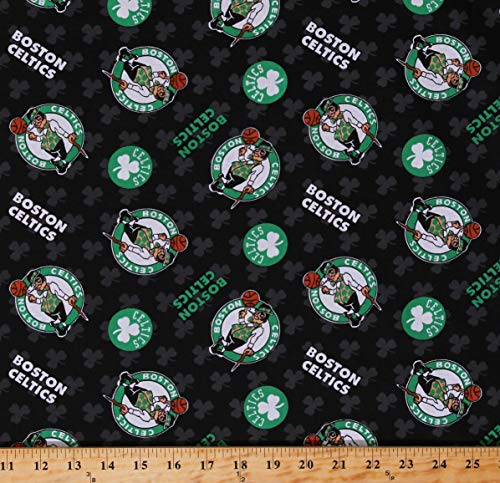 Cotton Boston Celtics on Black NBA Pro Basketball Sports Team Cotton Fabric Print by The Yard (D670.15)