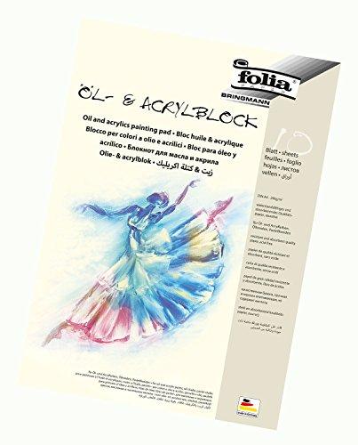 folia 8364 - Öl- und Acrylmalblock, 290g/qm, DIN A4, 10 Blatt - Qualitätspapier geeignet für Acrylfarben, Öl- und Pastellkreiden