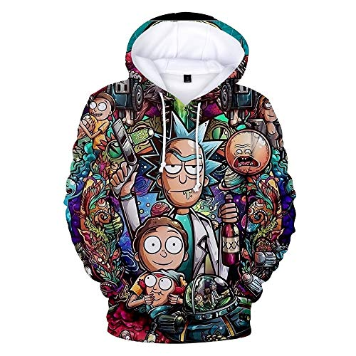 WAWNI Rick and Morty 3D Hoodies Sweatshirts Damen Herren Harajuku Streetwear Hoodies trendige Kleidung Rick and Morty Designs Gr. XXX-Large, B