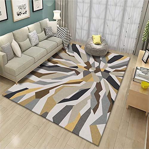 alfombras dormitorio matrimonio alfombras infantiles grandes Alfombra de arte marrón decoración de la sala de estar rectangular antideslizante y anticaída cuadros blancos 140X200CM 4ft 7.1'X6ft 6.7'