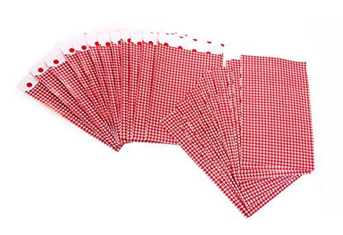 100 Stück kleine rot weiß karierte Papiertüte Papier-Flachbeutel 9,5 x 14 cm + 2 cm Geschenktüte Adventskalender basteln Verpackung Weihnachten give-away Mitgebsel-Tüten