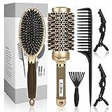 E-More Cepillo Pelo Redondo Profesional Antiestático de Barril Juego de cepillos de pelo ecológicos para mujeres y niñas 2 Pinza de Pelo Profesional Clips para Protege Mejora la Textura Rizar Peinar