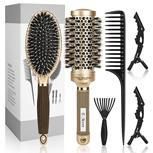 E-More Rundbürste Haarbürste, Runde Haarbürste mit Wildschweinborsten, Rundhaarbürsten Bürste zum Stylen Lockenwickeln Haarbürste