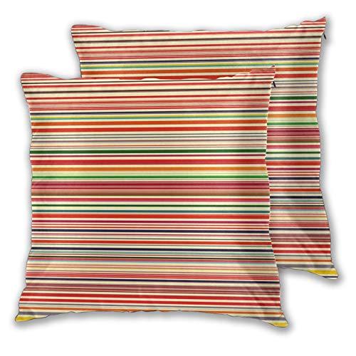 ALLMILL Juego de 2 Decorativo Funda de Cojín, Impresión de Rayas horizontales de Colores Funda de Almohada Cuadrado para Sofá Cama Decoración para Hogar,60x60cm