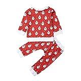 Bebé Chándal de Navidad 2 Piezas Conjunto de Ropa Navideña Top Camiseta de Manga Larga + Pantalones con Estampado de Papá Noel Disfraz Navideño para Niños Niñas Pequeños (Papá Noel, 2-3 Años)