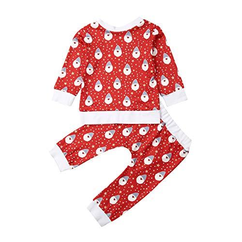 Bebé Chándal de Navidad 2 Piezas Conjunto de Ropa Navideña Top Camiseta de Manga Larga + Pantalones con Estampado de Papá Noel Disfraz Navideño para Niños Niñas Pequeños (Papá Noel, 6-12 Meses)