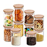 Glass Food Storage Container Jars Set, 10 Pack Cylinder Glass Kitchen Storage Set with Bamboo Lids for Candy, Cookie, Rice, Sugar, Flour, Pasta, Nuts and More