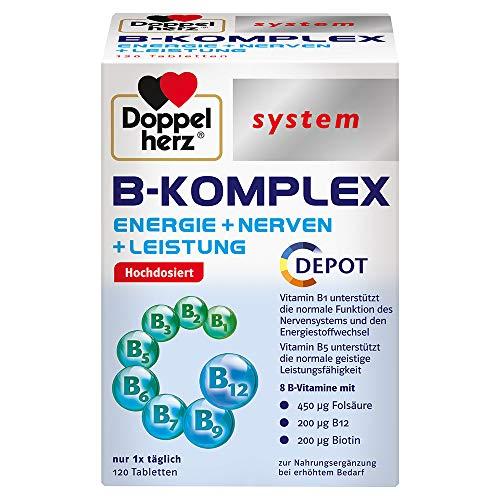Doppelherz system B-KOMPLEX – ENERGIE + NERVEN + LEISTUNG – B-Vitamine unterstützen die normale Funktion des Nervensystems und den normalen Energiestoffwechsel – 120 Tabletten