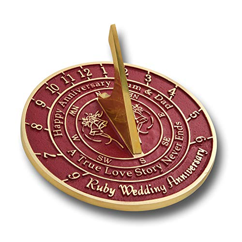 The Metal Foundry Personalized 40th Ruby Wedding Anniversary Sundial Gift Idea is...