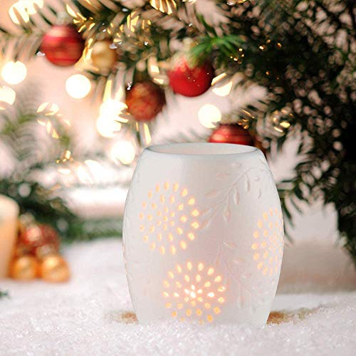 Wuudi Aromatherapie-Lampe, Keramik-Aromatherapie-Lampe, Keramik-Aromatherapie-Lampe mit Kerzenhalter, weiß